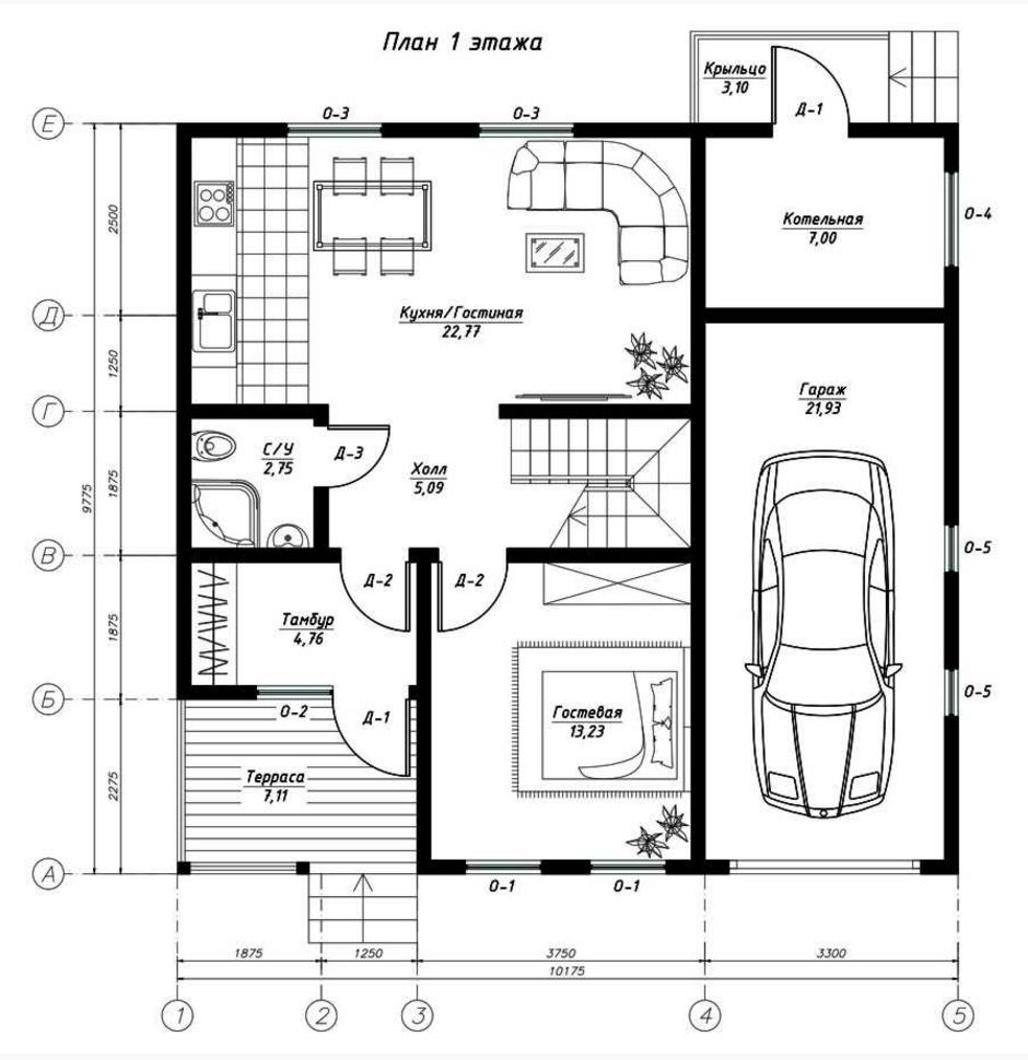 План первого этажа дома по канадской технологии