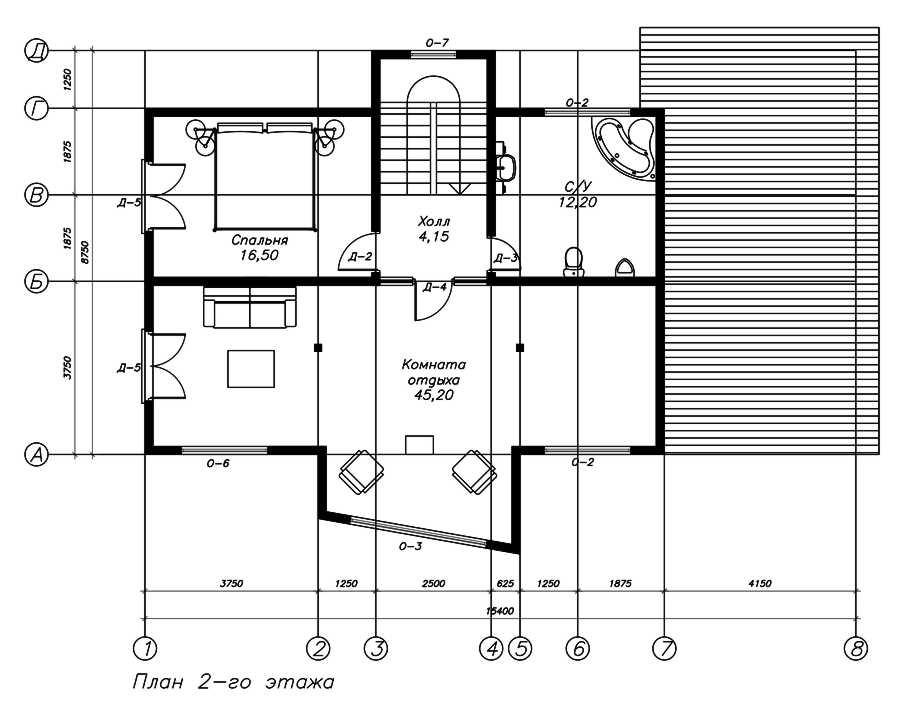 План второго этажа дома по канадской технологии
